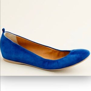 J.Crew cobalt blue suede ballet flats